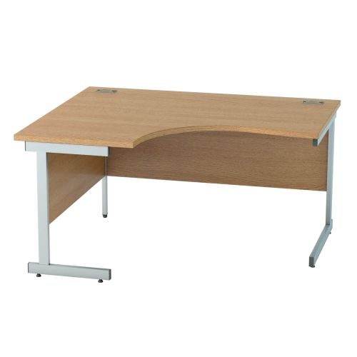 L&P SATELLITE Left Hand Crescent Cantilever Desk 1400mm Silver Light Oak
