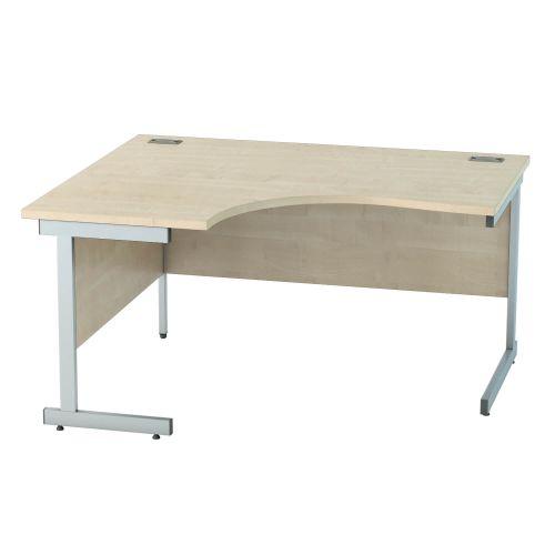 L&P SATELLITE Left Hand Crescent Cantilever Desk 1400mm Silver Maple