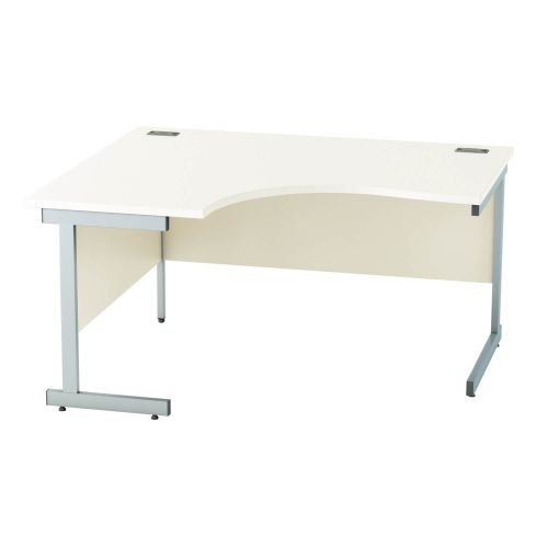 L&P SATELLITE Left Hand Crescent Cantilever Desk 1400mm Silver White