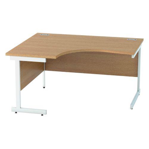 L&P SATELLITE Left Hand Crescent Cantilever Desk 1400mm White Light Oak