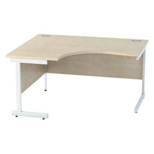L&P SATELLITE Left Hand Crescent Cantilever Desk 1400mm White Maple