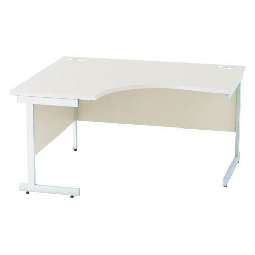 L&P SATELLITE Left Hand Crescent Cantilever Desk 1400mm White White