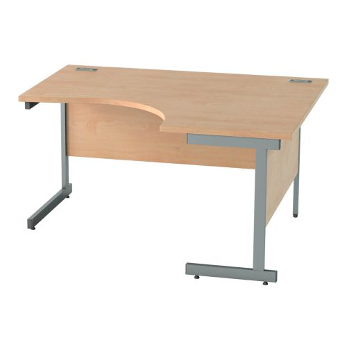 L&P SATELLITE Right Hand Crescent Cantilever Desk 1400mm Grey Beech