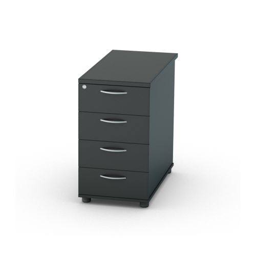 L&P SATELLITE Desk High Pedestal Four Drawer 800mm Black