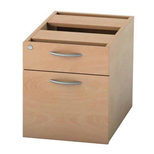 L&P SATELLITE Fixed Pedestal Two Drawer 585mm Beech