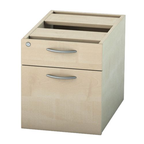 L&P SATELLITE Fixed Pedestal Two Drawer 585mm Maple