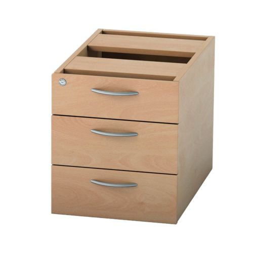 L&P SATELLITE Fixed Pedestal Three Drawer 585mm Beech