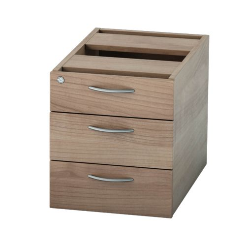 L&P SATELLITE Fixed Pedestal Three Drawer 585mm Birch