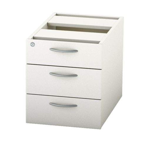 L&P SATELLITE Fixed Pedestal Three Drawer 585mm White