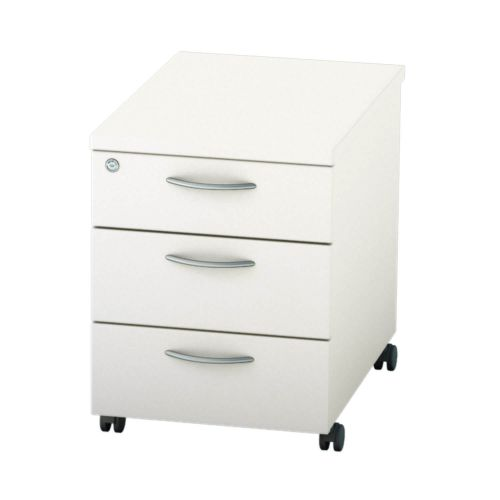 L&P SATELLITE Mobile Pedestal Three Drawer 600mm White