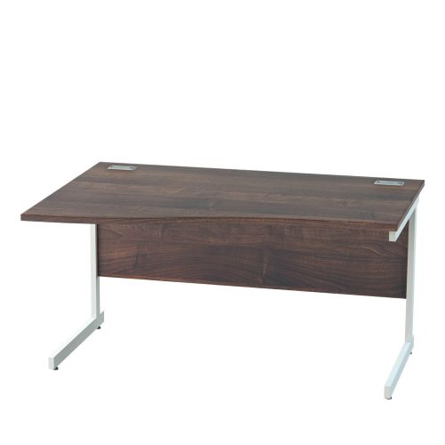 L&P SATELLITE Left Hand Wave Cantilever Desk 1400mm White Walnut
