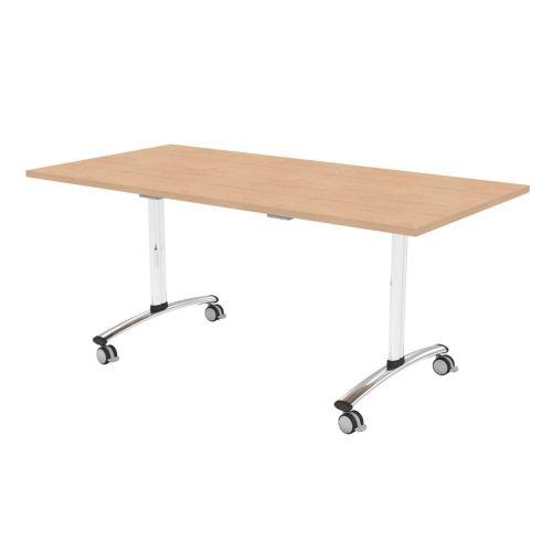 L&P TILT TOP Rectangular Table 1400mm Chrome Beech