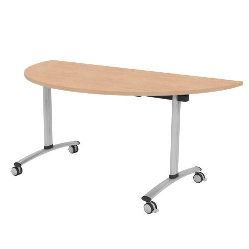 L&P TILT TOP Semi-Circular Table 1600mm Silver Beech