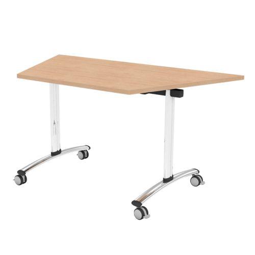 L&P TILT TOP Trapezoidal Table 1412mm 22.5 Degree Chrome Beech