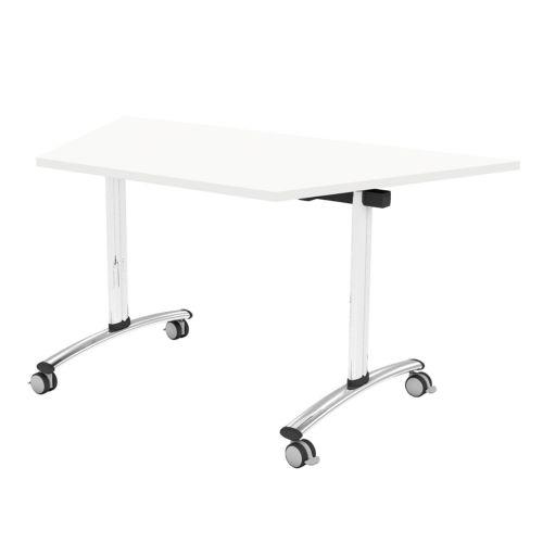 L&P TILT TOP Trapezoidal Table 1412mm 22.5 Degree Chrome White