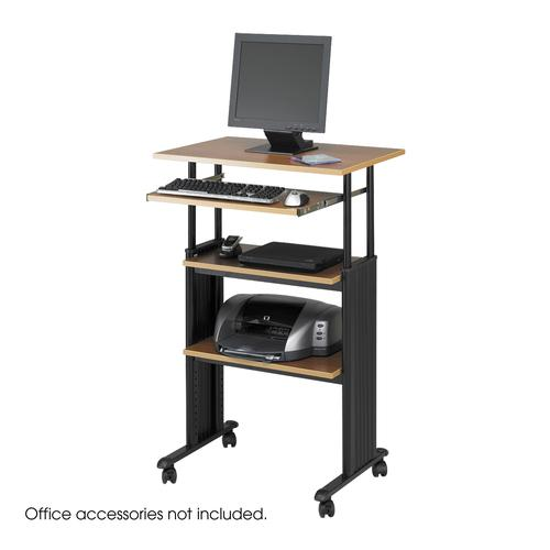 Safco MUV Adjustable-Height Stand-Up Workstation 750mm Medium Oak 1929MO