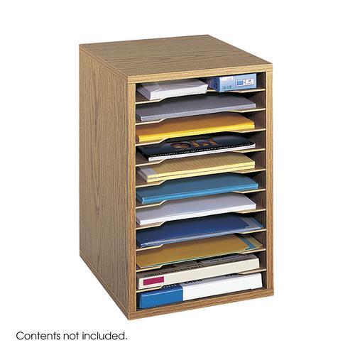 Safco Wood Adjustable Vertical Desktop Sorter 11 Compartment Oak 9419MO