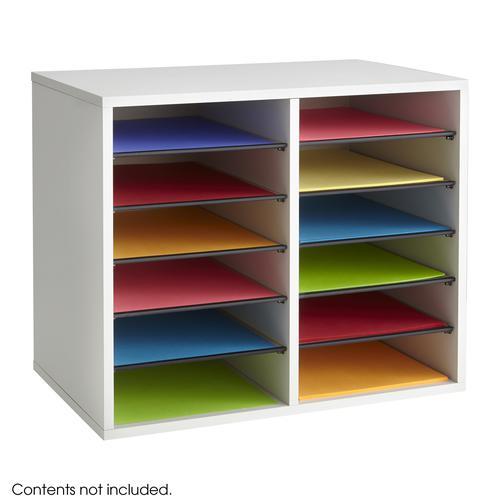 Safco Wood Adjustable Literature Organizer 12 Compartment Grey 9420GR