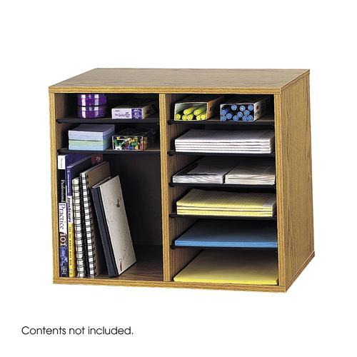 Safco Wood Adjustable Literature Organizer 12 Compartment Oak 9420MO