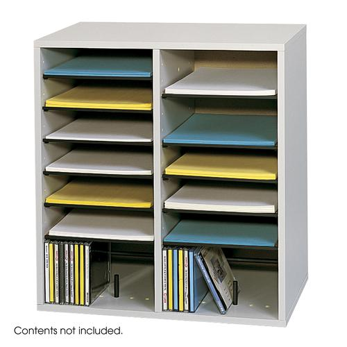 Safco Wood Adjustable Literature Organizer 16 Compartment Grey 9422GR