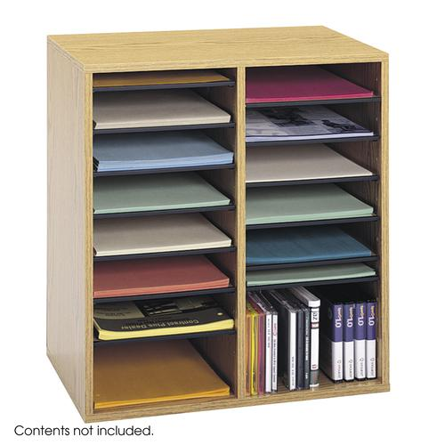 Safco Wood Adjustable Literature Organizer 16 Compartment Oak 9422MO
