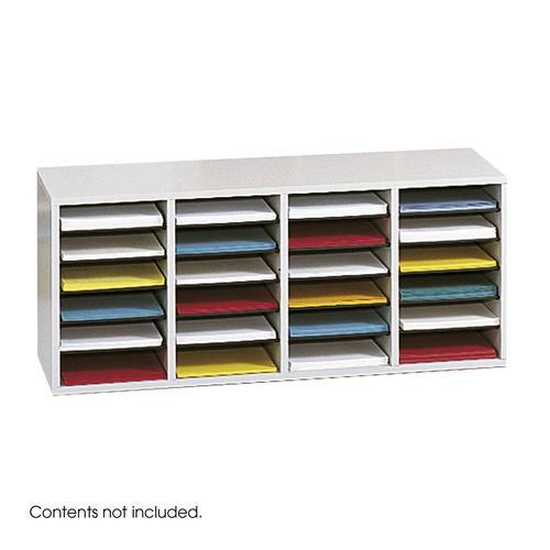 Safco Wood Adjustable Literature Organizer 24 Compartment Grey 9423GR