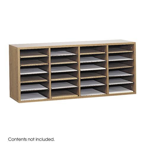 Safco Wood Adjustable Literature Organizer 24 Compartment Oak 9423MO