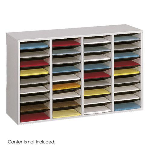Safco Wood Adjustable Literature Organizer 36 Compartment Grey 9424GR