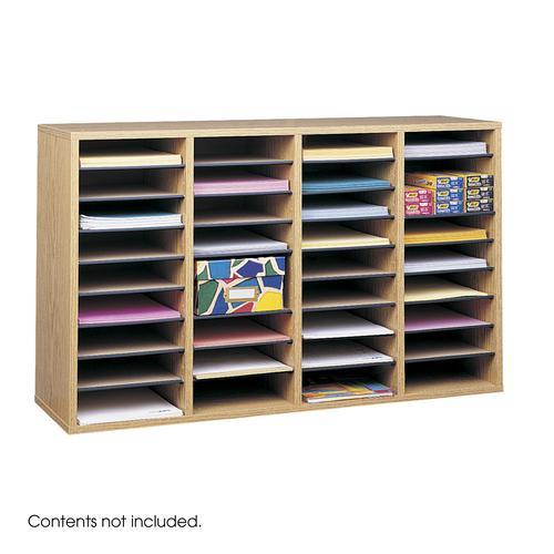 Safco Wood Adjustable Literature Organizer 36 Compartment Oak 9424MO