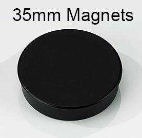 Round Plastic Covered Magnets 35mm Black A00038BLA [Pack 10]