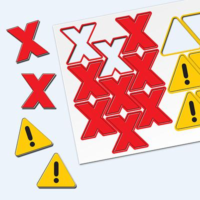 Flexible Magnetic Performance Indicator HAZARDS 35mm Red and Yellow A00093 [Pack 1]