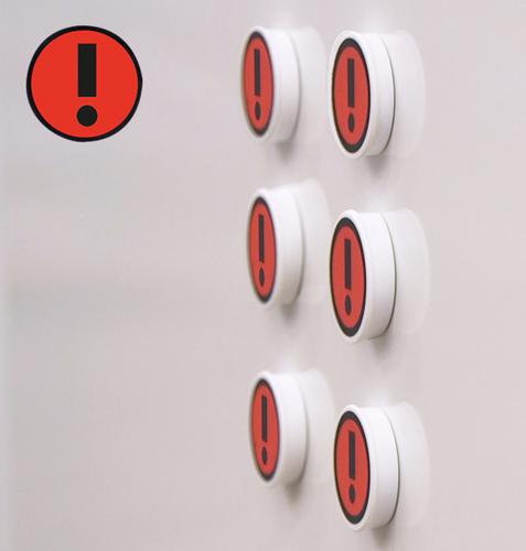 Memo Magnets Performance Indicator RED EXCLAMATION 36mm Dia A041EXCLRED [Pack 5]