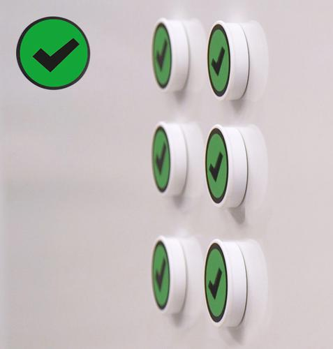 Memo Magnets Performance Indicator GREEN TICK 36mm Dia A041TICKGRE [Pack 5]