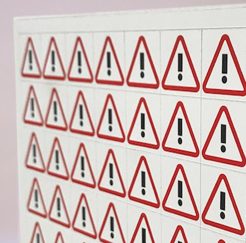 Thick Flexible Magnetic Performance Indicator WARNING TRIANGLE 35x35mm Red/White A044EXCLRW [1x64]