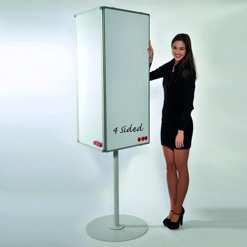 MIDI Rotating 4-Sided Magnetic Coated Steel Whiteboard on Stand 2m High (boards 560x1200) LPMCR004
