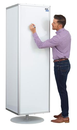 MAXI Rotating 4-Sided Magnetic Coated Steel Whiteboard on Stand 2m High (boards 55x178cm) LPMCRL04
