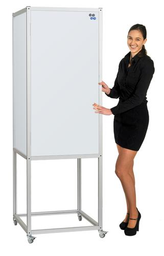 MIDI Magnetic Whiteboard 4-Sided Rotating Cube on Heavy Duty Wheels (640wx1910h) LPMCUBS001