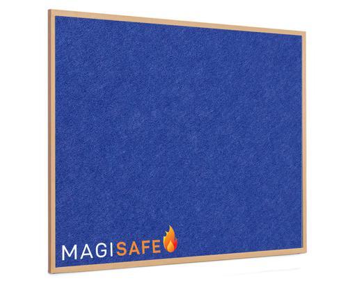 EcoSAFE FRB Flame Retardent Notice Board 900x600 Light Wood Frame Blue LPNX1W02FRL25BLU