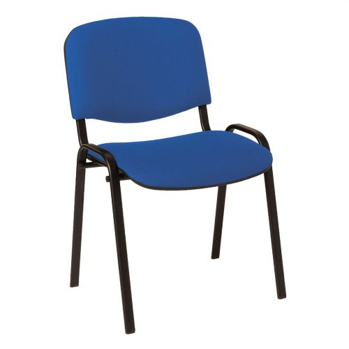 Stackable Side Chair Black Frame, Blue Fabric