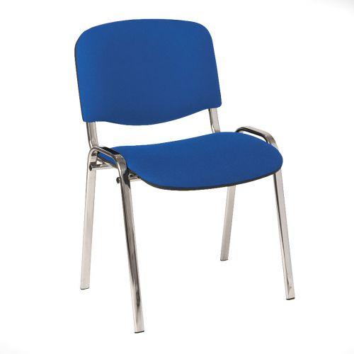 4 Legged Chrome Frame Stacking Chair Blue