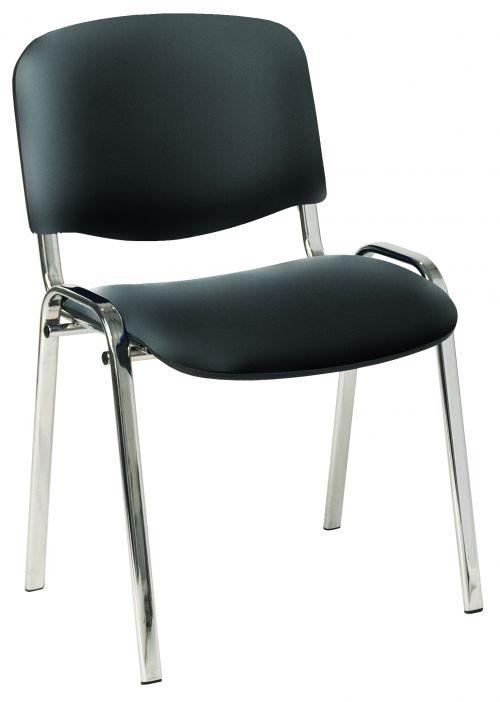 4 Legged Chrome Frame Stacking Chair Black Vinyl
