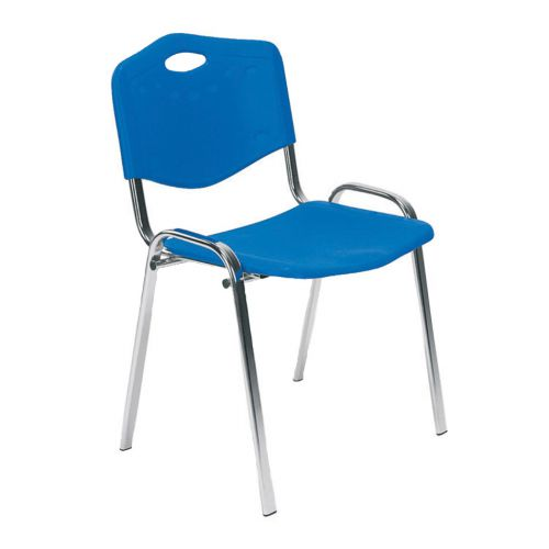 Stackable Side Chair Chrome Frame, Polypropylene Blue