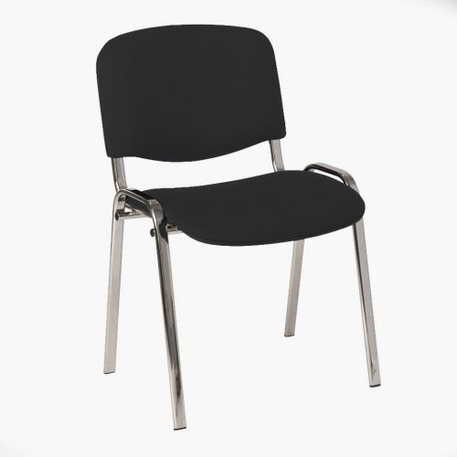 Stackable Side Chair Chrome Frame, Charcoal Fabric