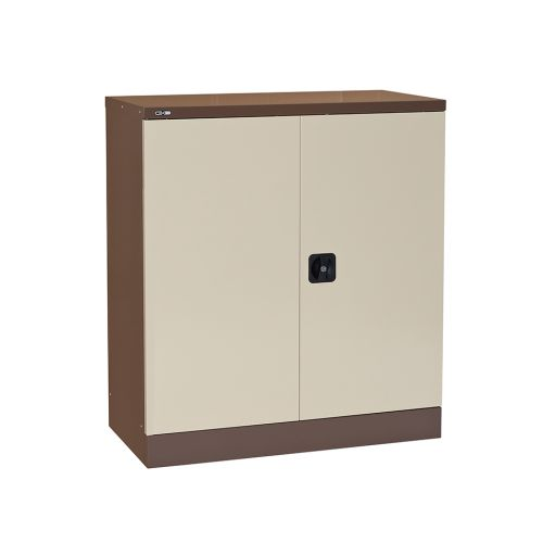 Contract Double Door Cupboard, 1016H X 914W X 457D, Coffee/Cream, 1 Cream Shelf