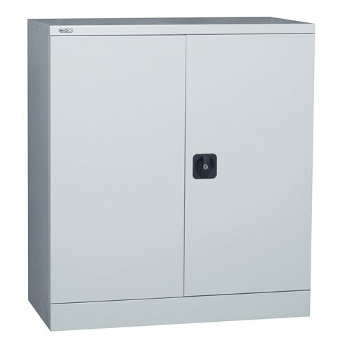 Contract Double Door Cupboard, 1016H X 914W X 457D, Grey, 1 Grey Shelf