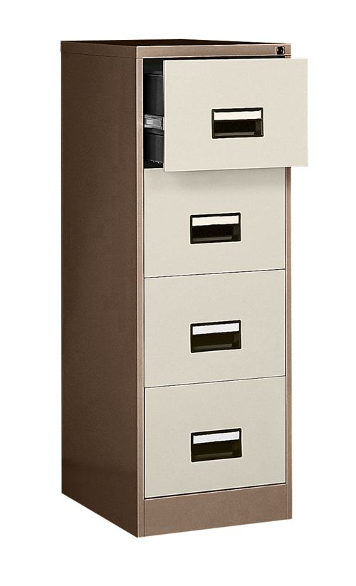 Contract 4 Drawer Filing Cabinet 1321H X 460W X 620D Coffee/Cream