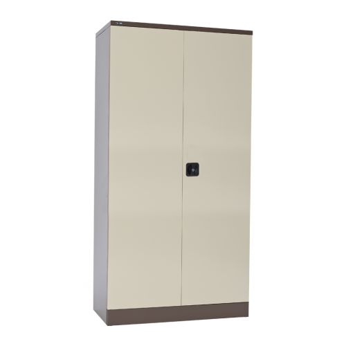 Contract Double Door Cupboard, 1829H X 914W X 457D, Coffee/Cream, 3 Cream Shelves