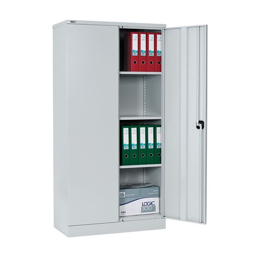 Contract Double Door Cupboard, 1829H X 914W X 457D, Grey, 3 Grey Shelves