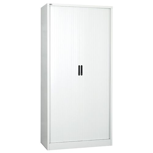 Side Opening Tambour Unit, 1981H X 1000W X 486D, White, Supplied Empty