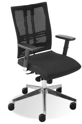 At Motion Executive Swivel Chair With Black Mesh Backrest, Seat In Havana YP009 Black Fabric, And Chrome Base